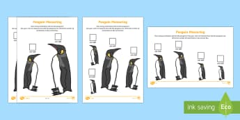 Penguin Measuring in Centimetres Differentiated Worksheet / Activity Sheets - The Arctic, Polar Regions, north pole, south pole, explorers, measure, measuring, measurement, rules