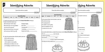 Identifying Adverbs Differentiated Activity Sheet - GPS, spelling, punctuation, grammar, worksheet