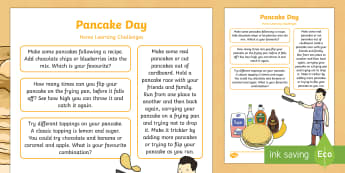 Pancake Day Home Learning Challenges Nursery FS1 - EYFS, Pancake Day,February, 28th, Shrove Tuesday, pancake, food, homework, parents, carers, home lin