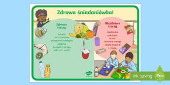 Plakat Zdrowa i niezdrowa śniadaniówka - żywienie, odżywianie, owoce, warzywa, chigiena, wychowawcza,Polish