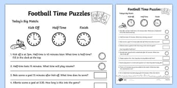 Football Themed Differentiated Time Worksheet / Activity Sheet Pack - football, euro 2016, worksheet