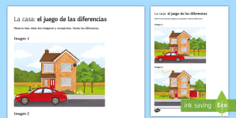 My House Spot The Differences Game Spanish - Spanish Speaking Practice, spot the differences, house, prepositions