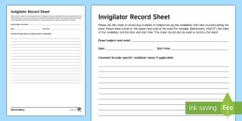 Exam Invigilator Record - Exam, Invigilator, exams, JCQ, malpractice