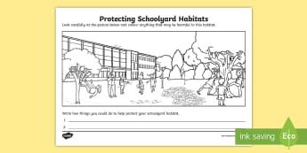 Protecting Schoolyard Habitats Activity Sheet - ACSHE022, environment, playground, science human endeavour, Sustainable, worksheet, schoolyard safar