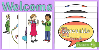 Mixed Languages Welcome Door Display Pack - transition display, new class display, hello, french, german, spanish, Ks2, KS1