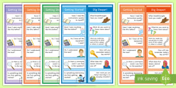 Getting Started and Extended Self-Quizzing Cards - metacognition, getting started, getting ready, extension tasks, extended learning,