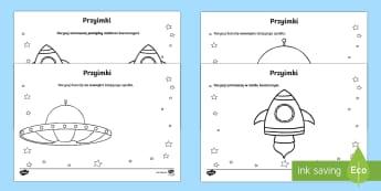 Karty Przyimki określające położenie Kosmici - przestrzeń., przyimek, orientacja, części mowy, język, matematyka,Polish