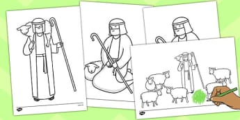 The Lost Sheep Story Coloring Sheets - the Lost Sheep, sheep, shepherd, lost sheep, coloring, fine motor skills, poster, worksheet, vines, A4, display, 100, 99, search, searching, looking for, safe, carried home, bible story, bible, party, happy