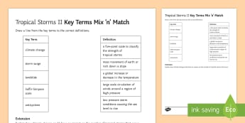 Tropical Storms Mix and Match 2 Activity Sheet - typhoon, cyclone, developing, countries, climate, change, worksheet