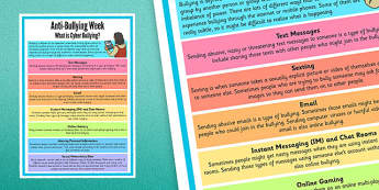 Anti-Bullying Week: What is Cyber-Bullying? Poster - anti-bullying, cyber-bullying, poster