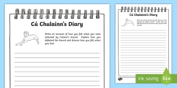 Cú Chulainn's Diary Worksheet / Activity Sheet - Setanta, Irish, Myths and Legends, Story, History, Writing, folklore, hero, hound, culann, worksheet