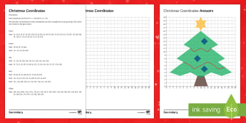 Christmas Coordinates Christmas Tree Activity Sheet - plotting, quadrant, end of term, axes, colouring, picture, worksheet,