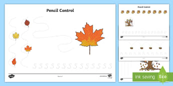 Forest and Woodland Pencil Control Activity Sheets - EYFS, Early Years, Forests, Woodlands, tree, Woodland animals, Leaves, Trees.