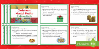 Y6 Christmas Mental Maths Challenge Cards - mental maths, christmas maths, christmas challenge, maths challenge