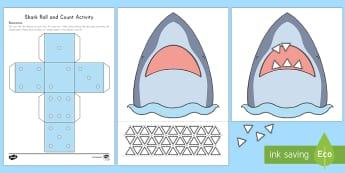 Shark Roll and Count Activity - Habitats, Habitat, Ocean Habitat, Ocean, Beach Habitat, Beach, Ocean Animals, Sharks, Shark Activity