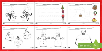 Elemente grafice pe tema Crăciunului Fișe de activitate - motricitate fină, elemente grafice, controlul creionului, scriere, craciun, iarna, antimpuri, sărb