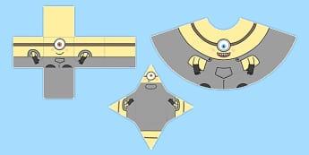 3D Shape Yellow Men - 3d, shape, yellow, men, model, craft, paper
