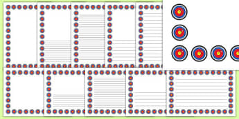Target Page Borders Pack - bullseye, arrow, challenge, archery, bully, display, edging, writing, page, literacy