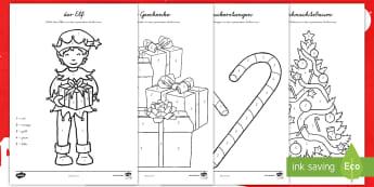 Weihnachtliches Malen nach Zahlen - Weihnachten, Dezember, Advent, Zahlen, zählen, Nummern, Ziffern,,German