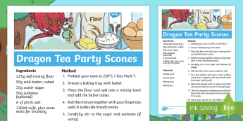 Treasures in the Garden Dragon Tea Party Scones Recipe - twinkl originals, fiction, KS1, EYFS, Design and Technology, Home learning, Parents, Story Sack