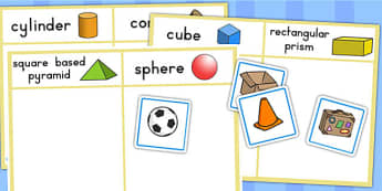 3D Shape Sorting Activity - 3D shapes, sorting, activity, maths