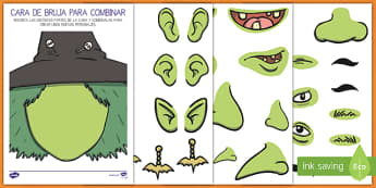 Mix and Match Witch Face Activity Sheet