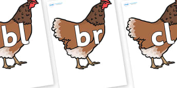 Initial Letter Blends on Hen - Initial Letters, initial letter, letter blend, letter blends, consonant, consonants, digraph, trigraph, literacy, alphabet, letters, foundation stage literacy