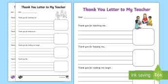 End of Year Thank You Letter to My Teachers Activity Sheet - Literacy, English, End of Year, Summer holidays, transition activity, letter, thank you ,Australia,