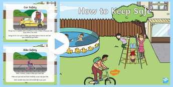 EYFS How to Keep Safe PowerPoint - Physical Development, health, self-care, ELG, Safety, talk, identify, communication and language, sp