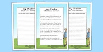 My Shadow KS2 Handwriting Practice - my shadow, ks2, handwriting, practice