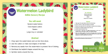 Ladybird Spots Edible Sensory Recipe - The Bad Tempered Ladybird, watermelon, messy play, sensory play, counting, spots