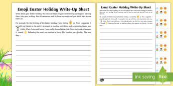 KS2 Emoji Easter Holiday Write-Up Activity Sheet -  ks2 writing, KS2 writing, ks2 easter writing, KS2 Easter writing, worksheet, KS2 easter writing, em, moji