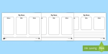 News Writing Frame Differentiated Worksheet / Activity Sheets - ROI - Infants News Writing Resources and Display Pack,Irish