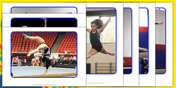 Gymnastics Flips And Tumbles Display Photos - Eyfs, physical development, movement, actions,