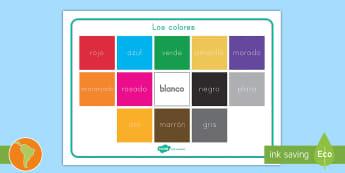 Tapiz de vocabulario: Los colores - color, colores, vocabulario de colores, preescolar, arte, español, spanish