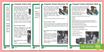 KS1 Computer Science Education Week Differentiated Fact File - ICT, computing, coding, scientist, Rear Admiral Grace Murray Hopper.