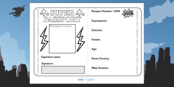 Superhero Passport Writing Frame - superhero, writing, literacy