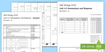 AQA Biology (Trilogy) Unit 4.5 Homeostasis and Response Test - KS4 Assessment, Test, homeostasis, response, brain, eye, body temperature, medulla, iris, pupil