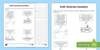 Irish Victorian Inventors Writing Activity Sheet - Victorian, Inventors, Irish Inventors, famous Irish, Technology, inventions, inventors