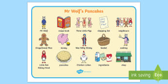 Word Mat to Support Teaching on Mr Wolf's Pancakes - mr wolfs pancakes, word mat, keyword