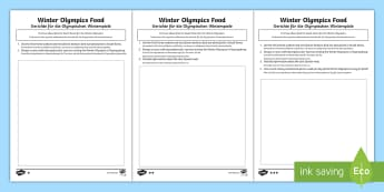 KS2 Winter Olympics Food Differentiated Activity Sheets English/German - Advertise, Costing, South Korea, Cuisine, Budget, EAL, German, English-German,,German-translation