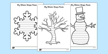 Winter Shape Poetry - winter poetry, winter, poetry, winter shapes, christmas, writing frames, writing templates, templates, writing, creative writing, literacy