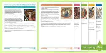 Anglo Saxon Kings Timeline Activity Sheet - anglo saxon, edward confessor, harold godwine, harold harefoot, harthacnut, king cnut, aethelred,vik