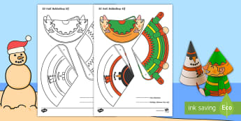 Eenvoudige 3D Keël Elf Bobbelkop Kersfees Aktiwiteit - Desember, fees, model, kreatief, maak, sneeuman