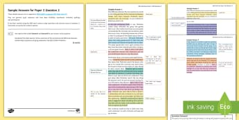 006 AQA English Language P2 Q2 Sample Answers Resource Pack  - Paper 2, P2, GCSE, new, spec, question 2, AQA, marking, exemplar, answers, sample, unmarked, marked,