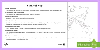 Carnivals Around the World Map Labelling Activity - KS2, geography, maps, atlas, carnival, labelling