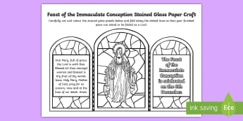 Feast of the Immaculate Conception Stained Glass Paper Craft - Mary, hail Mary, Our Lady, Immaculate Mary, Feast Days,