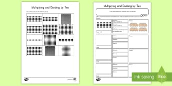 Multiplying and Dividing by 10 Worksheet / Activity Sheet - activity, worksheet, math, multiplying, dividing, 10