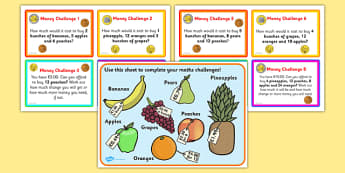 Maths Money Problems Challenge Cards Euros - challenge, cards