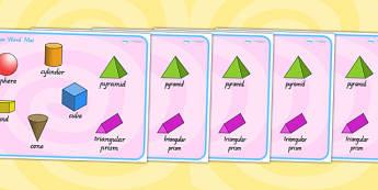 3D Shape Word Mat - 3D, shapes, 3D shapes, word mat, keywords